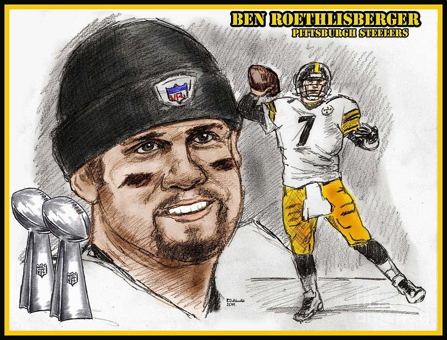 Ben Roethlisberger Drawing by Chris  DelVecchio