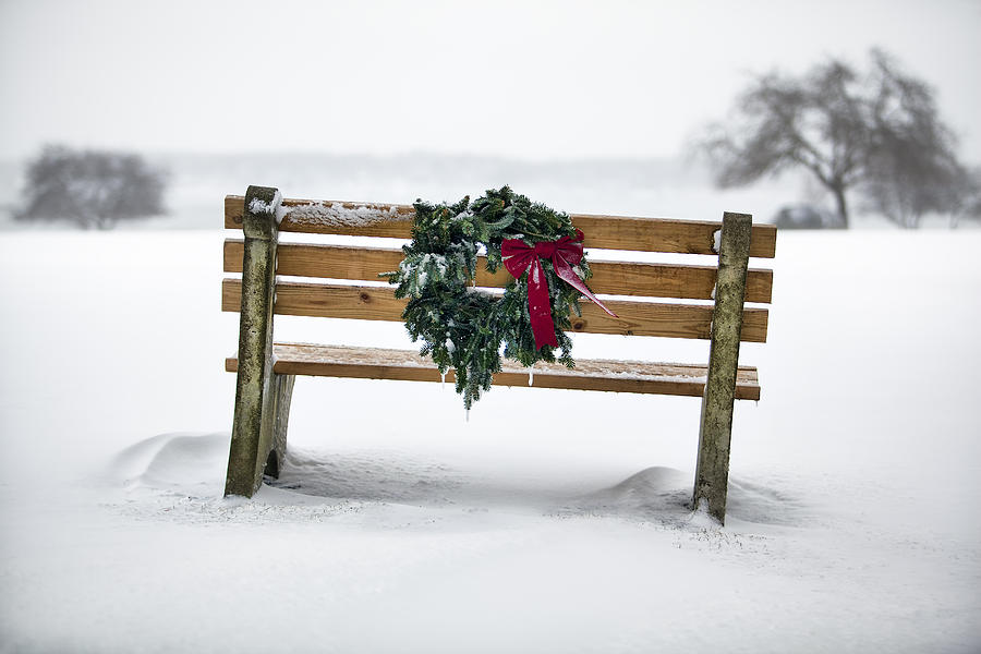 Bench Photograph - Bench And Wreath by Eric Gendron