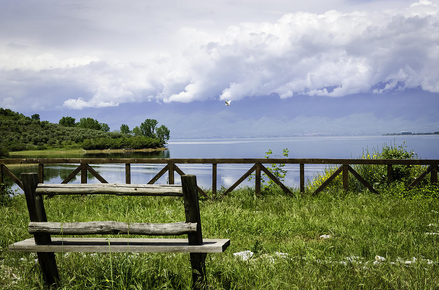 Beautiful Photograph - Bench By The Lake. by Slavica Koceva