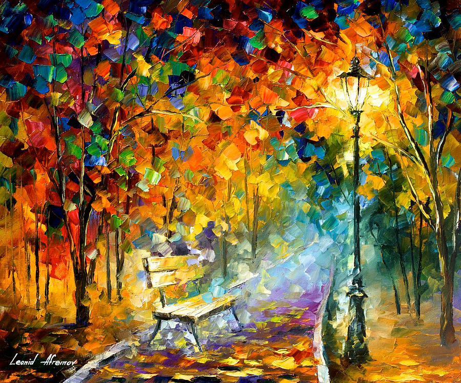 Bench Of Lost Love Palette Knife Oil Painting On Canvas