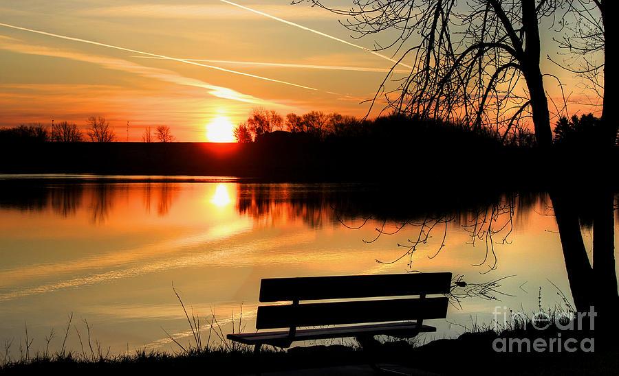 Sunrise Photograph - Bench View by Thomas Danilovich