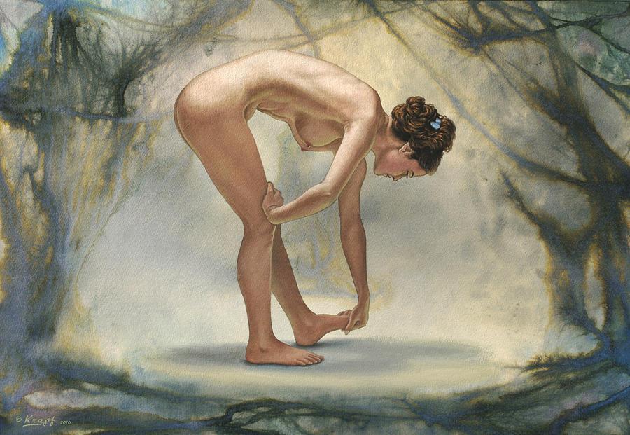 Figure Painting - Bending Figure In Abstract by Paul Krapf