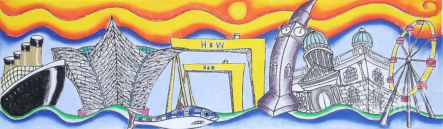 Tourist Attraction Drawing - Bendy Belfast by Tanya Mai Johnston