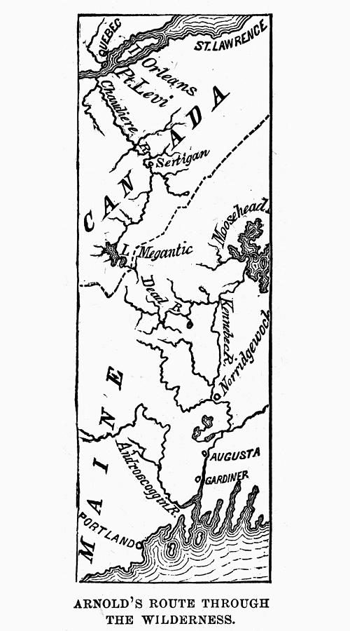 1775 Photograph - Benedict Arnold: Map, 1775 by Granger
