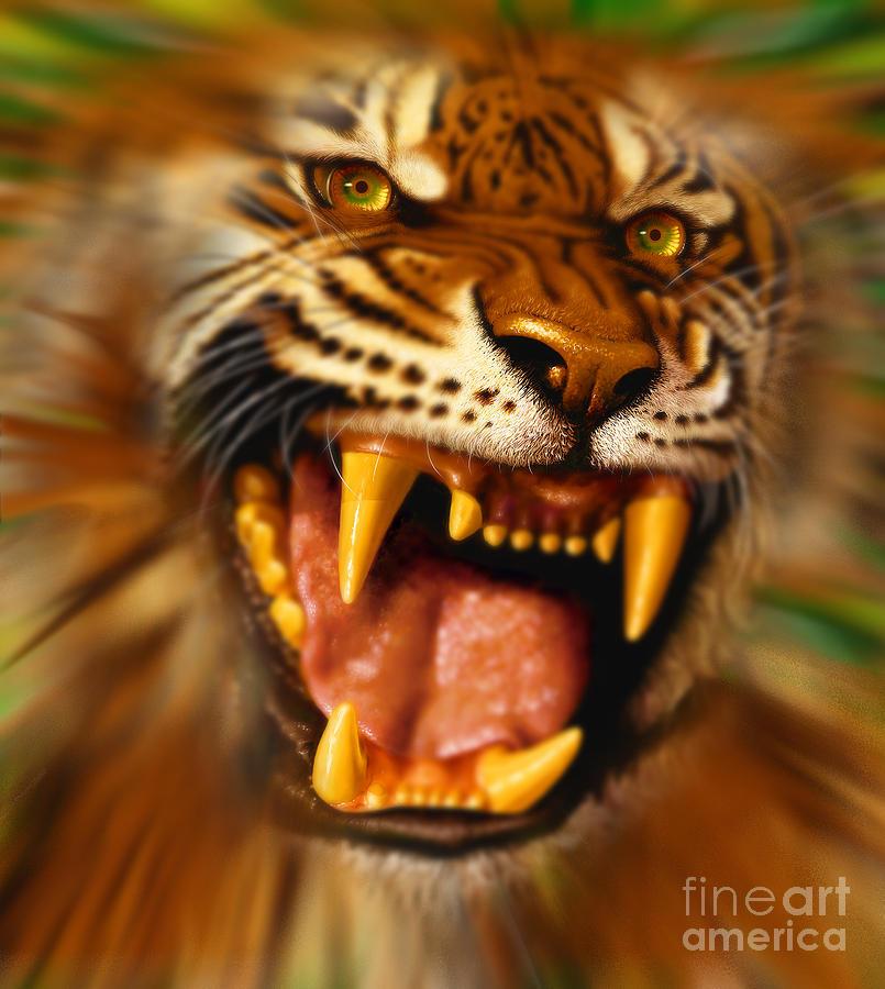Tiger Digital Art - Bengal by Jurek Zamoyski