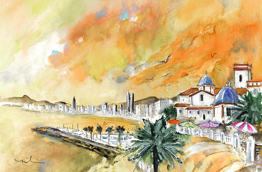 Travel Painting - Benidorm Old Town by Miki De Goodaboom