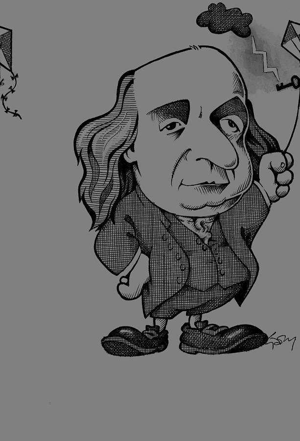 1800s Photograph - Benjamin Franklin, Caricature by Science Photo Library