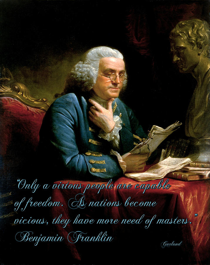 Quotes Mixed Media - Benjamin Franklin On Freedom by Garland Johnson