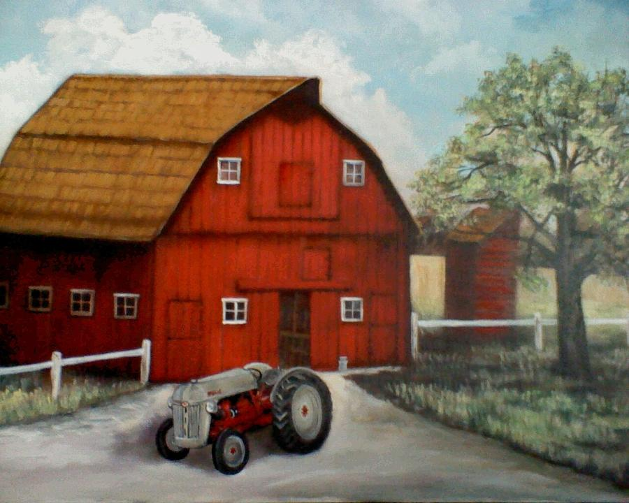Red Painting - Bens Barn by Kendra Sorum