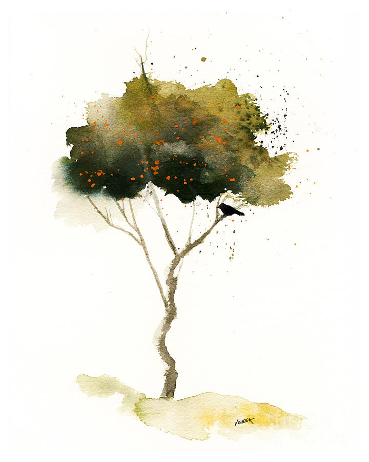Print Painting - Bent Tree With Blackbird by Vickie Sue Cheek