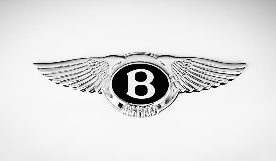 Classic Cars Photograph - Bentley Emblem -0082c by Jill Reger