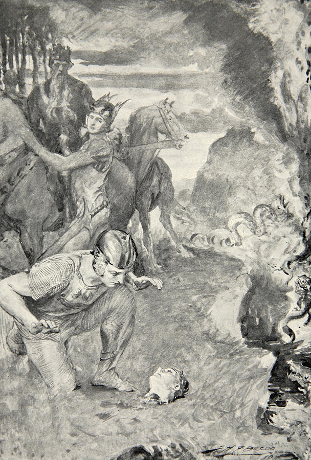 beowulf finds the head of aschere drawing by john henry frederick bacon