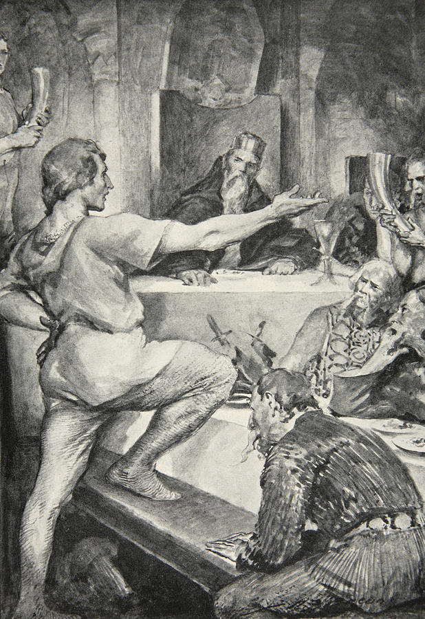 Beowulf Drawing - Beowulf Replies Haughtily To Hunferth by John Henry Frederick Bacon