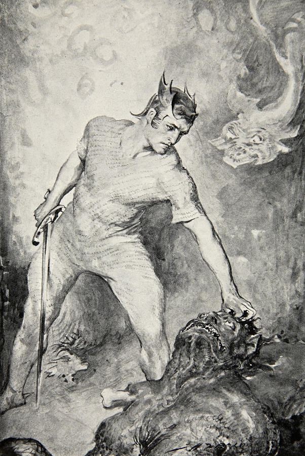 Beowulf Drawing - Beowulf Shears Off The Head Of Grendel by John Henry Frederick Bacon