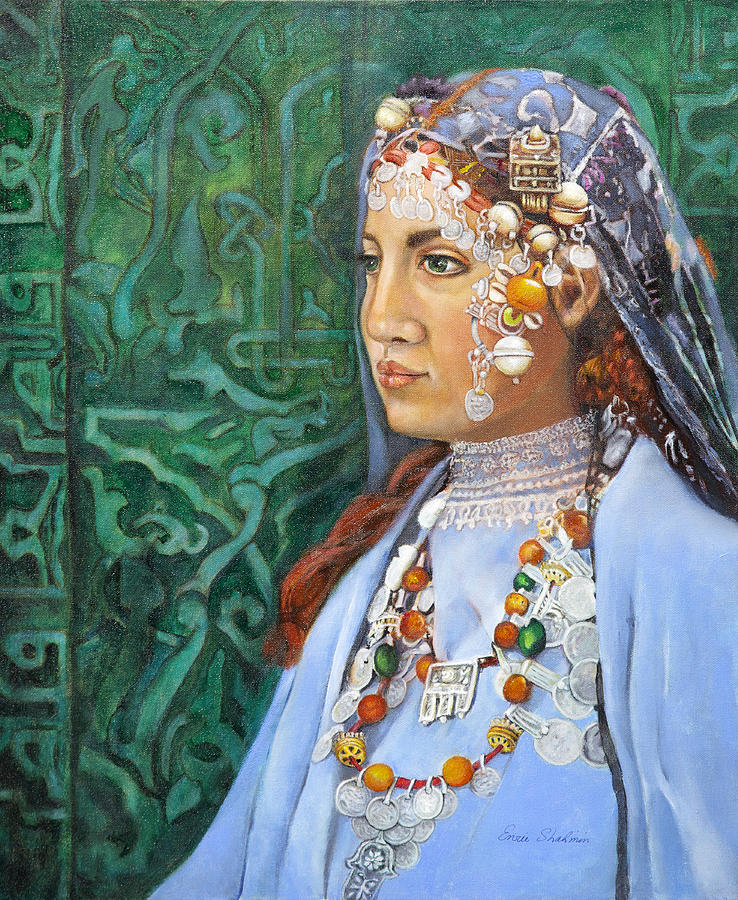 Berber Woman Painting - Berber Woman by Enzie Shahmiri