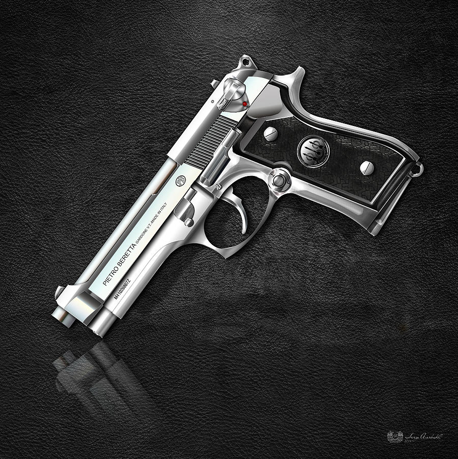 beretta 92fs inox over black leather digital art by serge. Black Bedroom Furniture Sets. Home Design Ideas