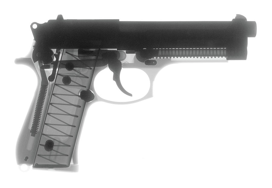 Antique Firearms Photograph - Beretta 9mm X-ray Photograph by Ray Gunz