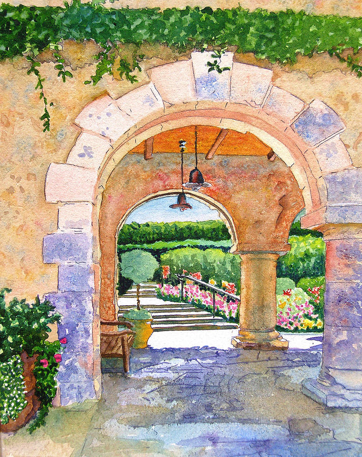 Beringer Painting - Beringer Winery Archway by Gail Chandler