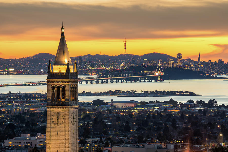 Berkeley Campanile With Bay Bridge And Photograph by Chao Photography