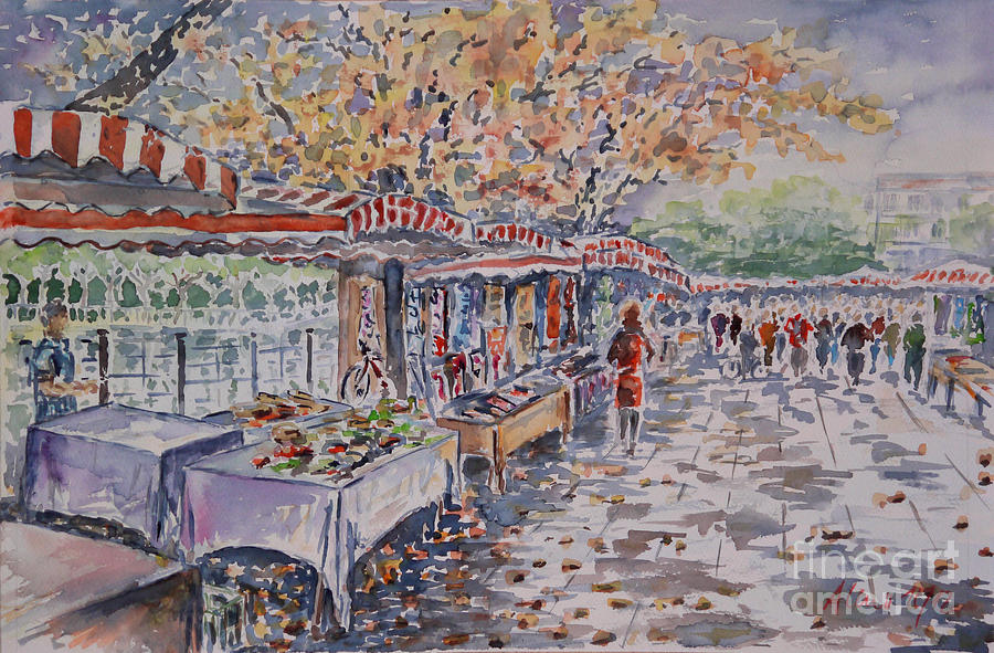 Watercolour Painting - Berlin At The Armoury Art Market by Alfred Motzer