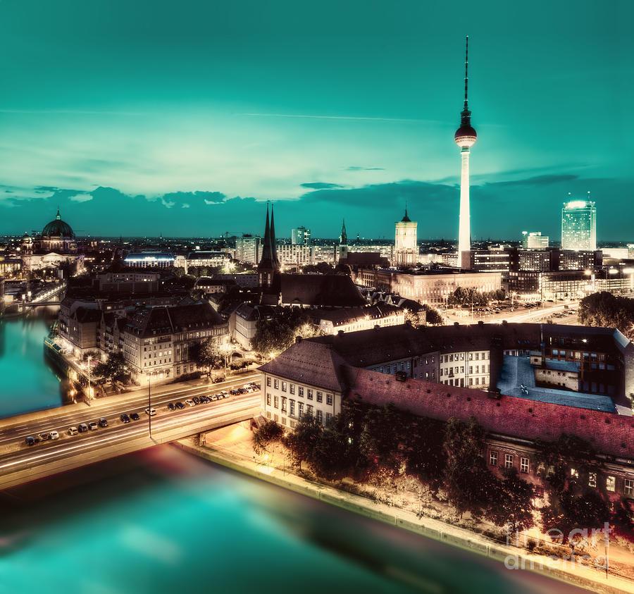 Berlin Photograph - Berlin Germany Major Landmarks At Night by Michal Bednarek
