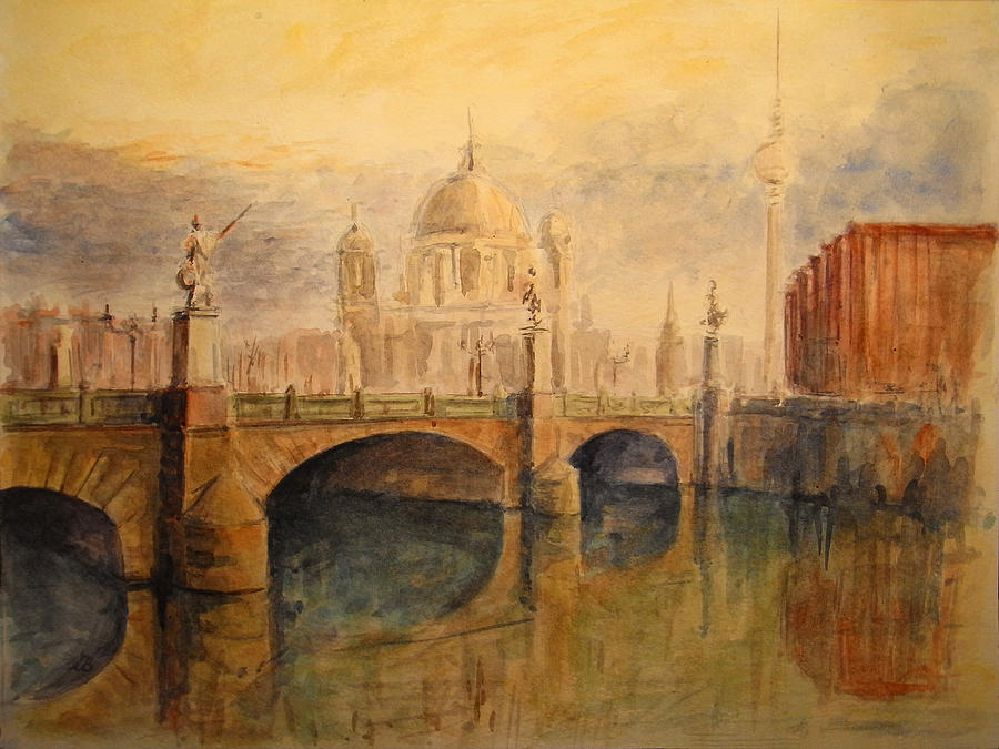 Cityscape Painting - Berlin by Juan  Bosco