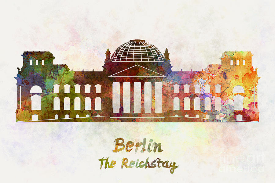 Berlin Landmark The Reichstag In Watercolor Painting