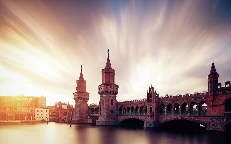 Berlin Oberbaum Bridge With Dramatic Sky Photograph by Spreephoto.de