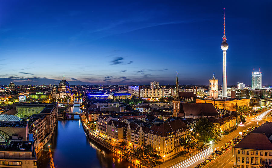 Alex Photograph - Berlin Skyline At Blue Hour 1 by Jean Claude Castor