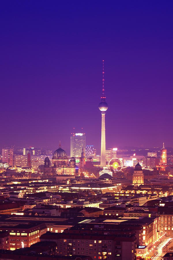 Berlin Skyline At Night, Dom And Tv Photograph by Zodebala