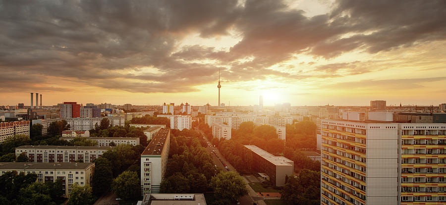 Berlin Skyline At Sunset With Photograph by Spreephoto.de