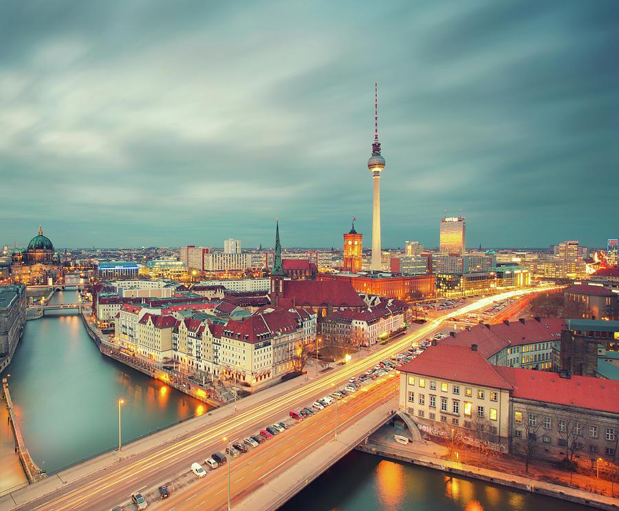 Berlin Skyline With Traffic Photograph by Matthias Makarinus