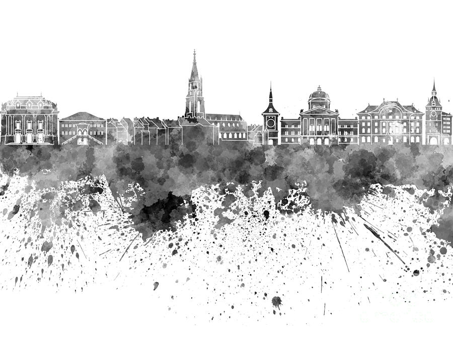 Bern Skyline In Black Watercolor On White Background ...