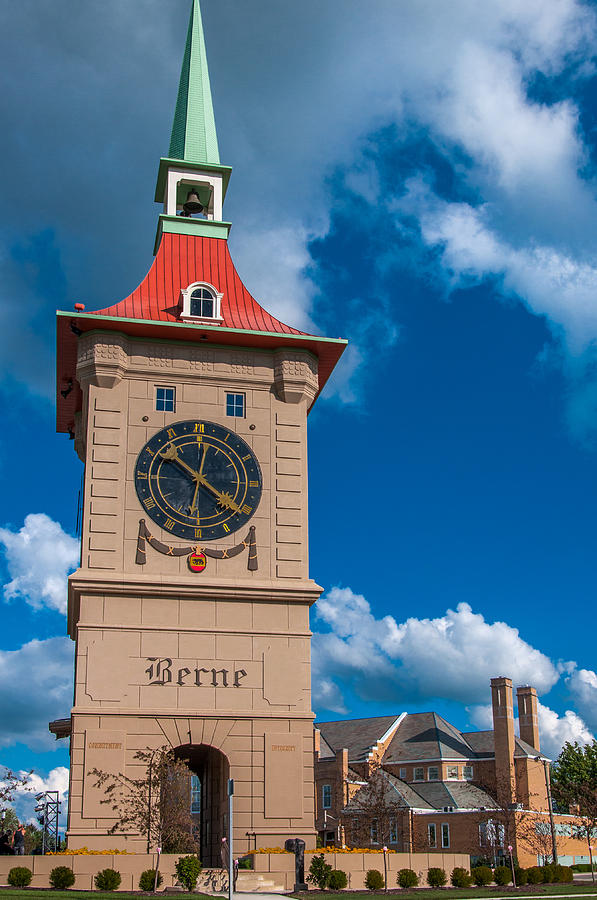 Berne Indiana Clock Tower And Church Photograph By Gene