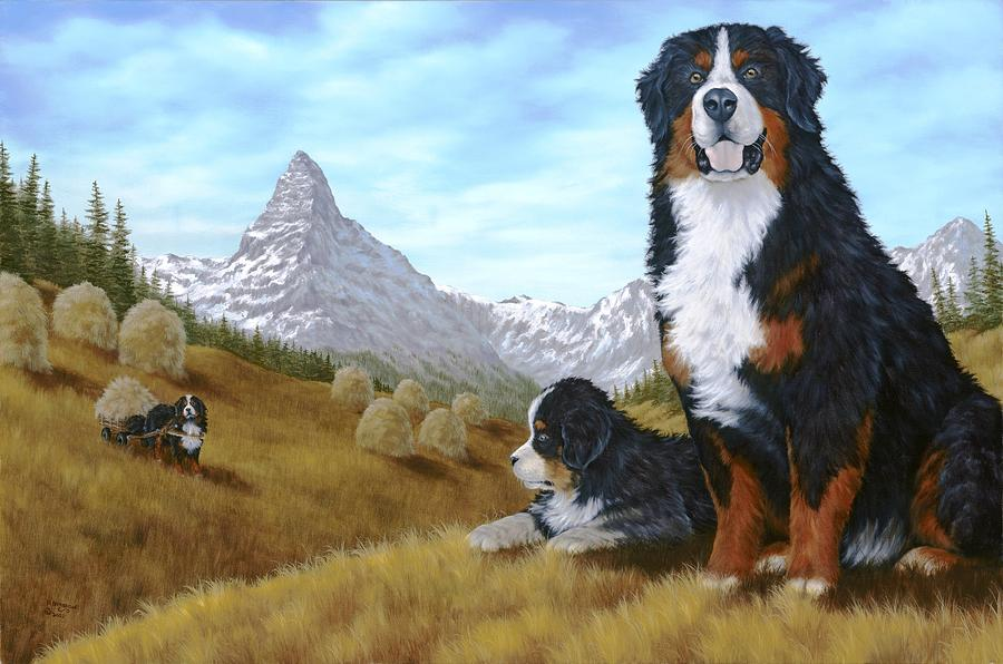 Animals Painting - Bernese Mountain Dog by Rick Bainbridge