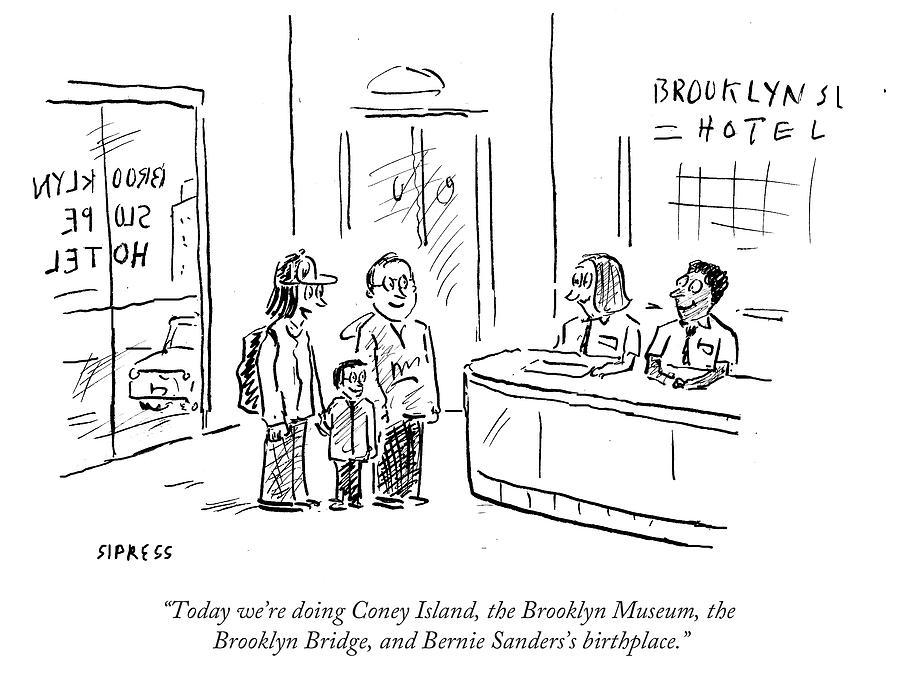 The Brooklyn Museum Drawing - Bernie Sanderss Birthplace by David Sipress