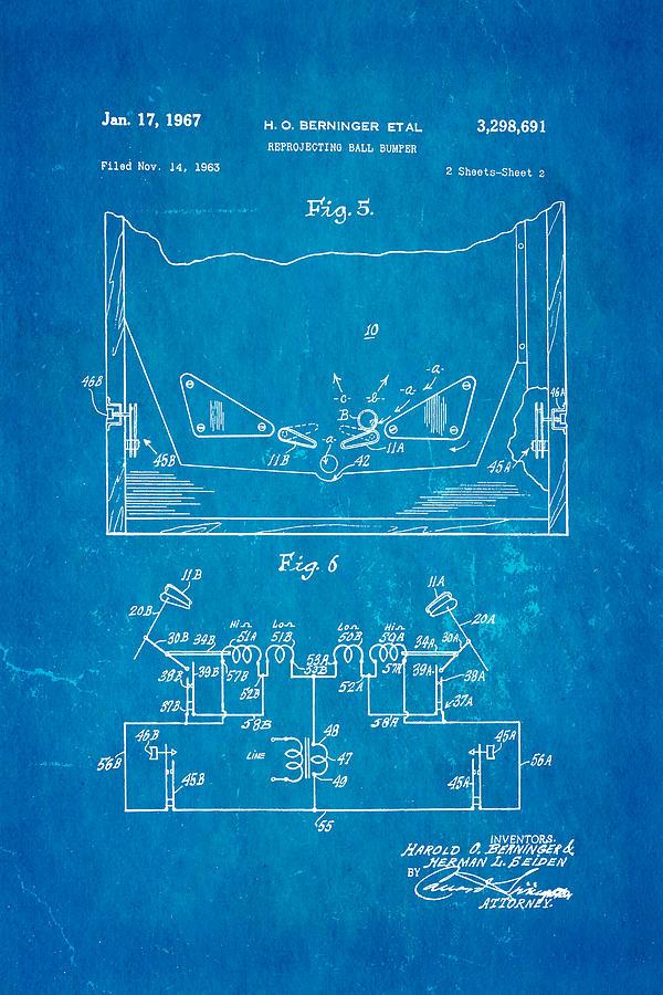 Famous Photograph - Berninger Reprojecting Ball Bumper 2 Patent Art 1967 Blueprint by Ian Monk