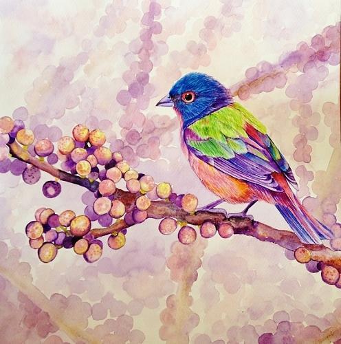 Bird Painting - Berries And Bird by Sonali Sengupta