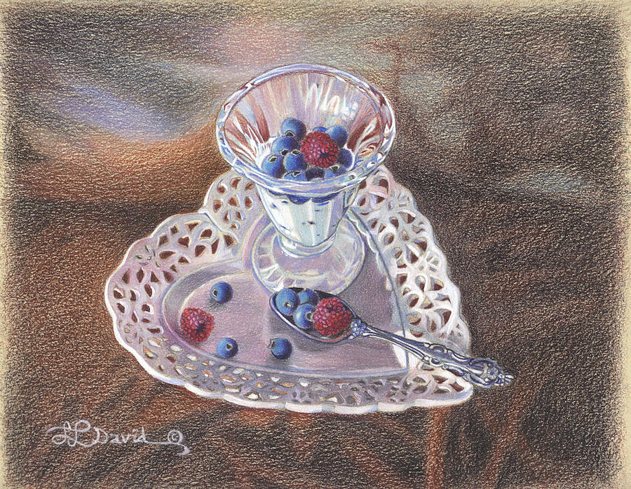 Still Life Drawing - Berries And Cream by Lidia Penczar