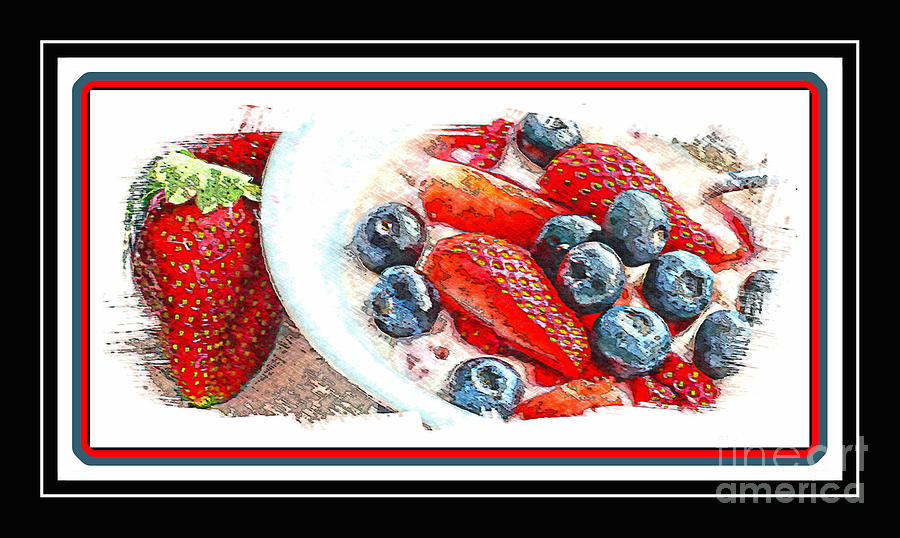 Fruit Photograph - Berries And Yogurt Illustration - Food - Kitchen by Barbara Griffin