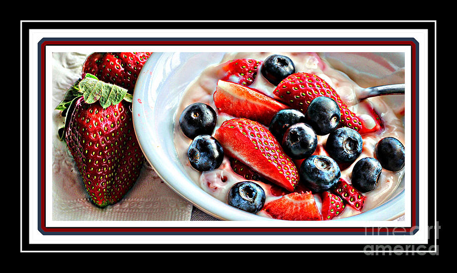 Intense Colors Photograph - Berries And Yogurt Intense - Food - Kitchen by Barbara Griffin