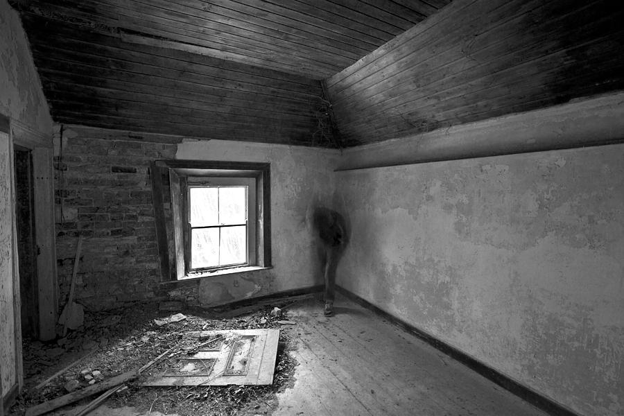 Black White Inferred Long Exposure Movement Derelict Abandoned Ireland Irish Ghost Light Window Self Portrait    Photograph - Beside The Window by David Hollinger
