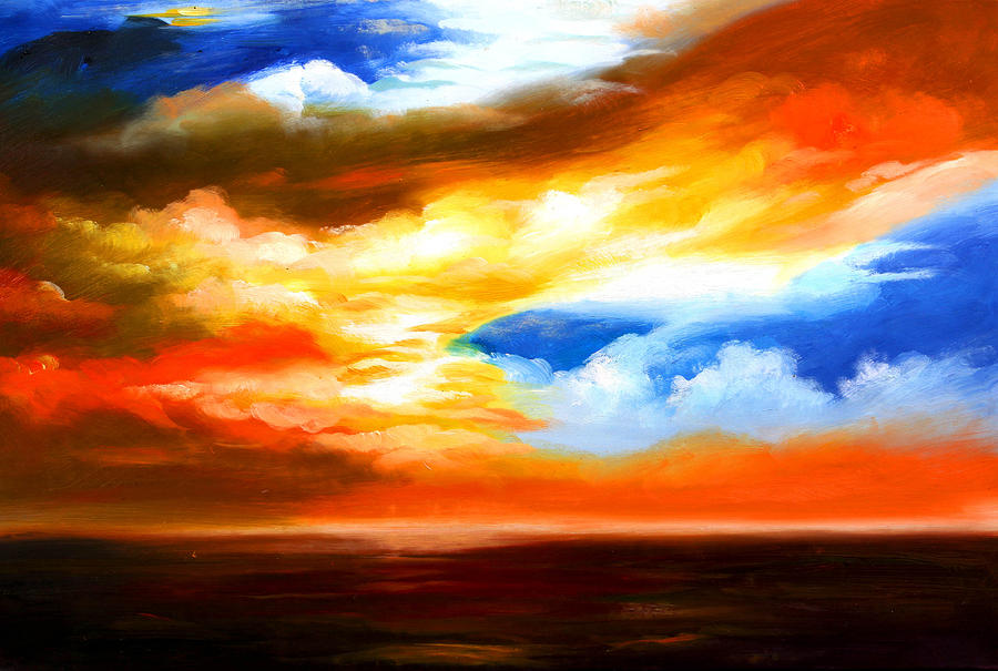 Best Art Choice Award Original Abstract Oil Painting Modern Contemporary Sky House Wall Gallery