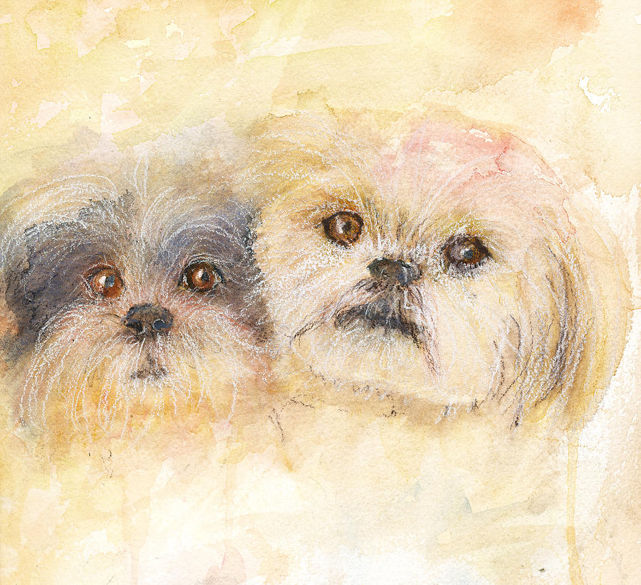 Dogs Painting - Best Buddies by Peggy Bosse