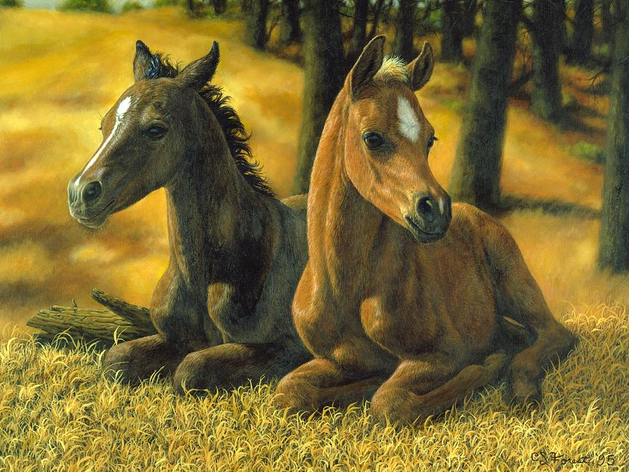 Foal Painting - Best Friends by Crista Forest