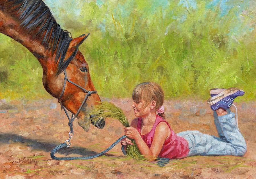 Child Painting - Best Friends by David Stribbling