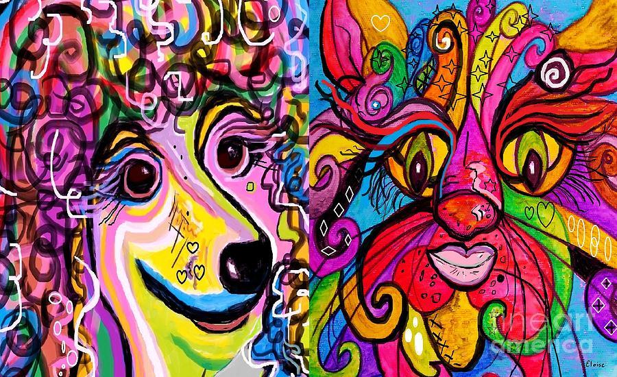 Cat Painting - Best Friends by Eloise Schneider