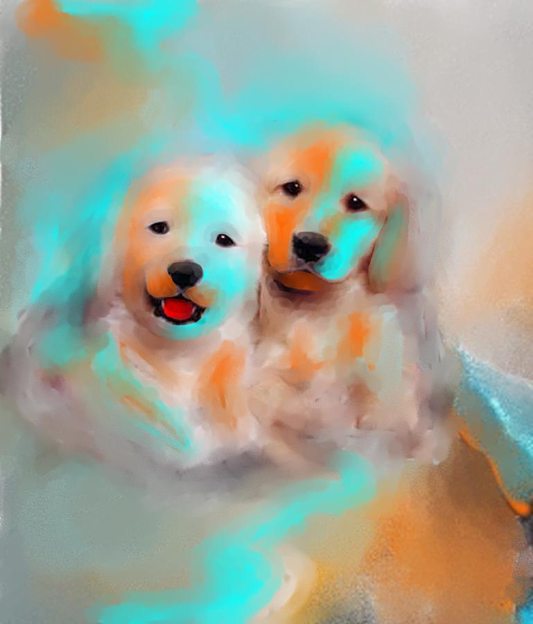 Dogs Painting - Best Friends by Larry Cirigliano