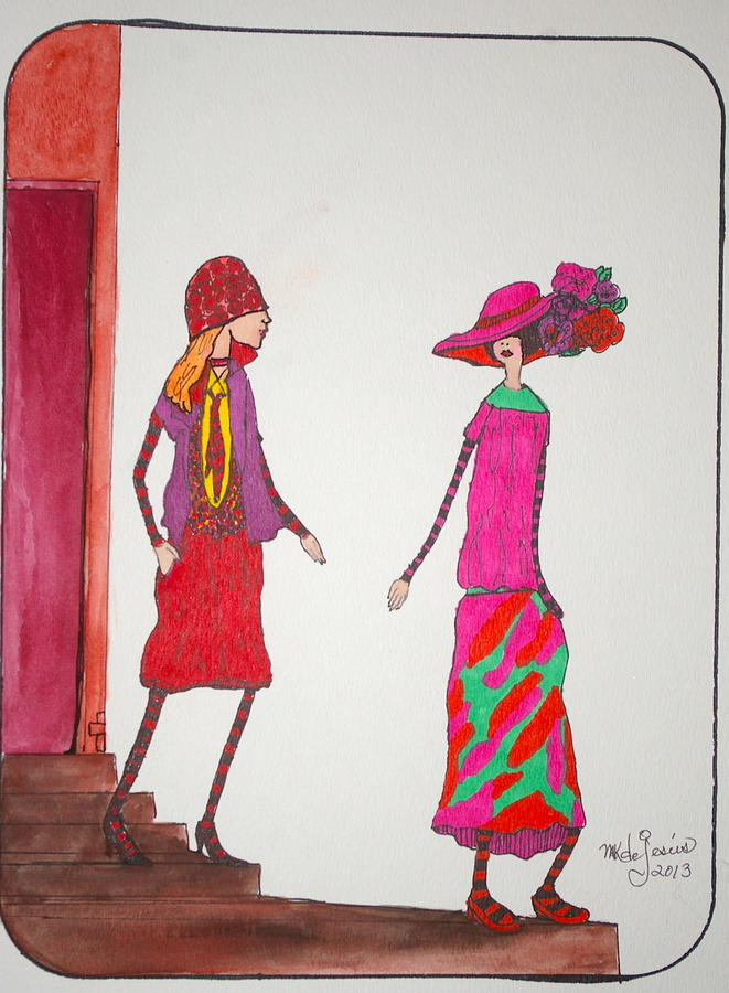 Woman Drawing - Best Friends by Mary Kay De Jesus