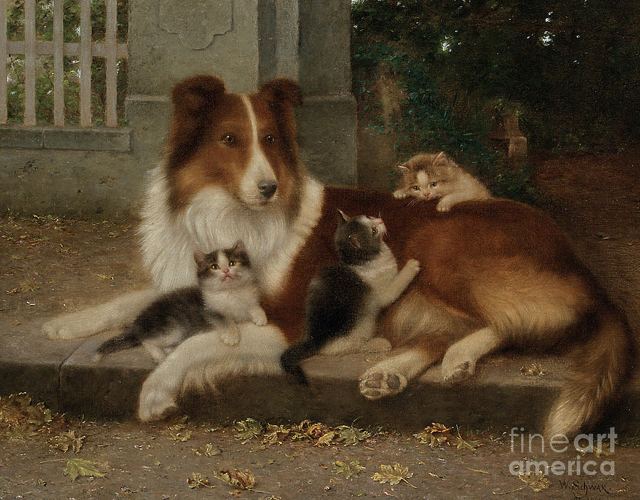 Best Of Friends Painting - Best Of Friends by Wilhelm Schwar